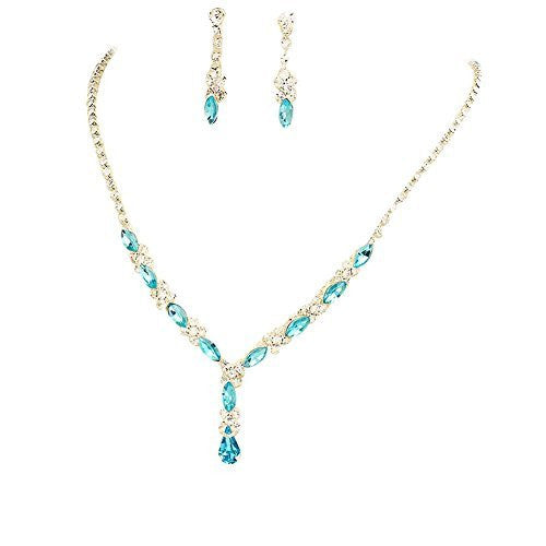 Beautiful Y Drop Evening Party Lite Aqua Blue Bridal Bridesmaid Necklace Earring Rhinestone Bling P4