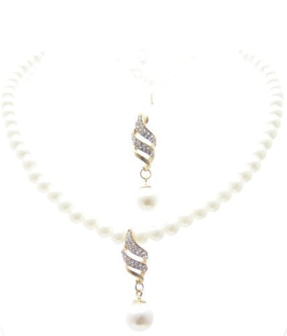 Vintage Cream Off-white Pearl Bridal Necklace Earring Set W Crystal on Gold Tone CG8