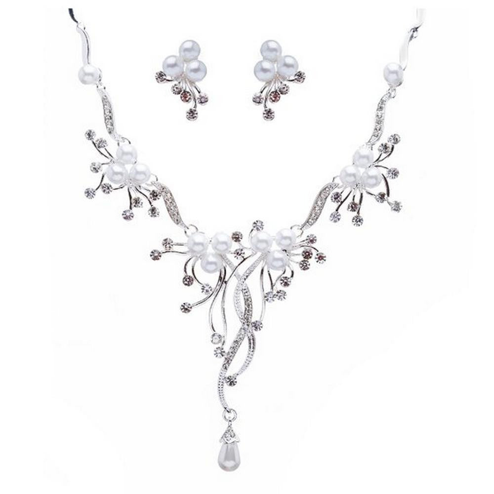 Designer Look White Pearl & Rhinestone Bridal Necklace Earring Set Silver Tone