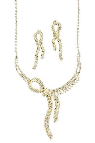 Knotted Rhinestone Bow Bridal Necklace Set on Gold Tone DE1