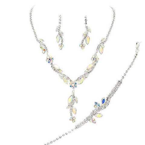 Y Drop Pretty Iridescent AB Floral Crystal Prom Bridesmaid Wedding Necklace Jewelry Set DO2