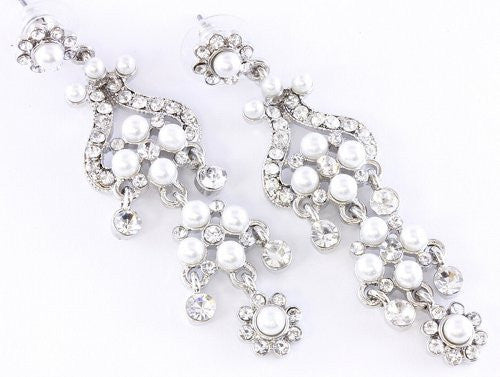 High Fashion Linear Bridal White Pearl Bridal Wedding Earrings W Crystals Silver Tone
