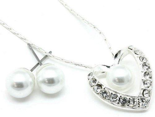 White Pearl & Heart Bridal Bridesmaid Necklace Earring Set