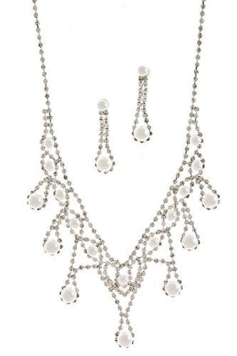 V Style White faux Pearl Bridal Necklace Set W Crystal Silver Tone