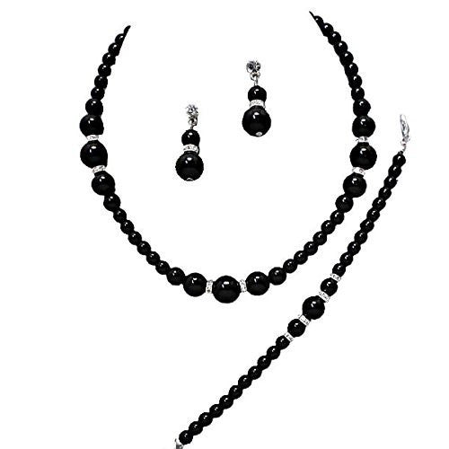 3 Piece Graduated Silver Black Pearl Bridesmaid Necklace, Earring, Bracelet W Crystal X5