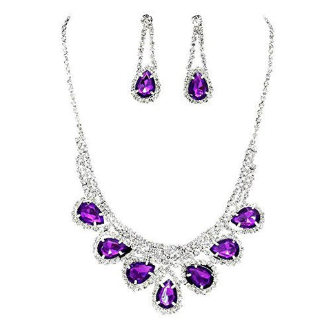 Princess Purple Rhinestone Prom Bridesmaid Evening Necklace Set Silver Tone S1