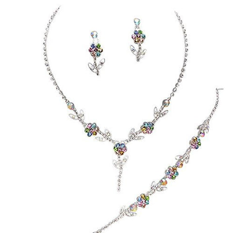 cae8c656e Elegant 3 Piece Multi Color Y Drop Crystal Bridesmaid Bridal Necklace  Earring Bracelet Set N6