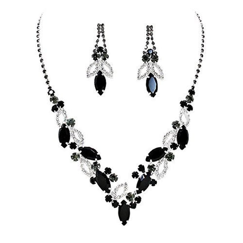 Black Marquise Rhinestone Necklace Set Bridal Bridesmaid Prom SilverTone
