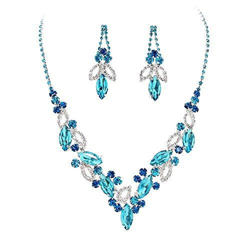 Aqua Blue Marquise Rhinestone Necklace Set Bridal Bridesmaid Prom SilverTone