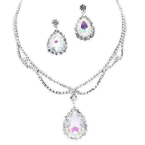 Iridescent AB Statement Teardrop Bridal Bridesmaid Necklace Earring Set Silver Tone C4