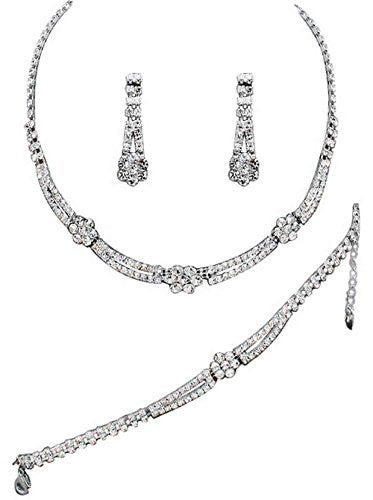 Affordable Crystal Bridal Necklace, Earring, Bracelet Set Silver Bling