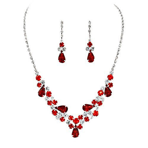 Red Teardrop Accented Rhinestone Necklace Set Bridal Bridesmaid Prom SilverTone