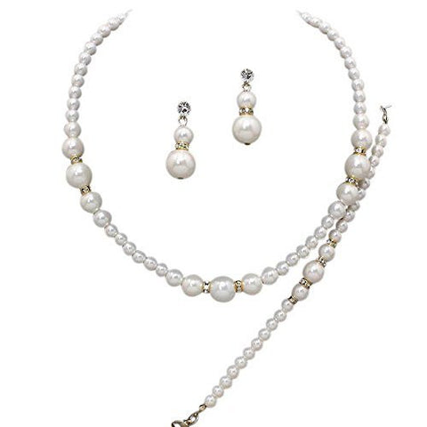 3 Piece Faux Cream Graduated Pearl Bridesmaid Bridal Necklace, Earring, Bracelet W Crystal Gold Tone X6