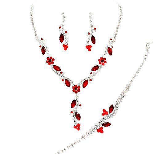 Y Drop Pretty Ruby & Dark Red Floral Crystal Prom Bridesmaid Wedding Necklace Jewelry Set DO5