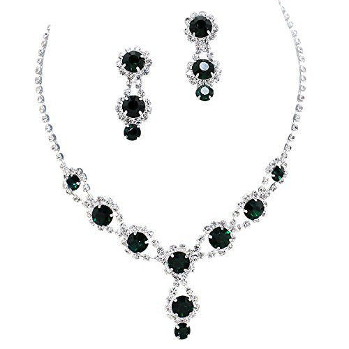 Stunning Y Drop Evening Party Dark Green Crystal Bridal Bridesmaid Necklace Earring C1