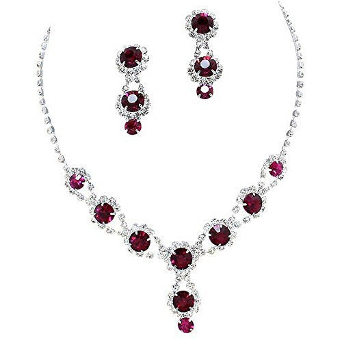 Stunning Y Drop Evening Party Raspberry Wine Bridal Necklace Earring Rhinestone Bling B4