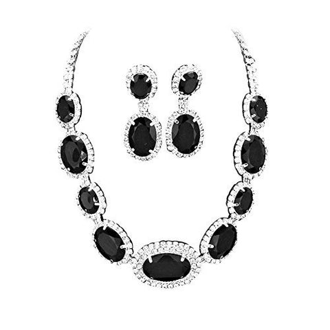 Large Statement Midnight Black Oval Stone Bridal Bridesmaid Necklace Earring Set Silver Tone DN05