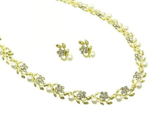 Floral Vine Bridal Cream Pearl Necklace Earring Set Yellow Gold Tone W Bling