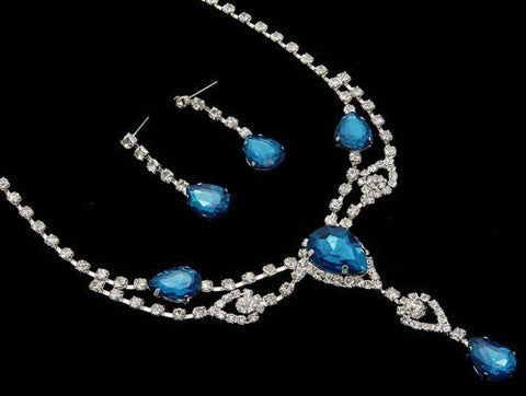 Stunning Y Drop Evening Teal Blue Crystal Bridal Necklace Bridesmaids Party