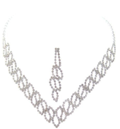 Bling V Clear Crystal Cutout On Silver Tone Bridesmaid Bridal Evening Necklace Earring