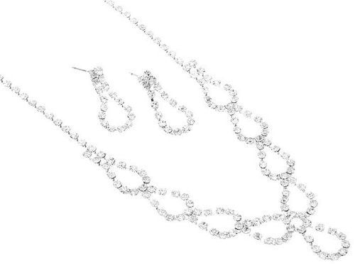Danity and Chic Teardrop loops Rhinestone Bridal Bridesmaid Necklace Earring Set
