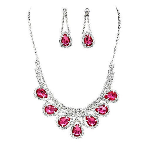 Princess Fuchsia Pink Rhinestone Prom Bridesmaid Evening Necklace Set Silver Tone S5
