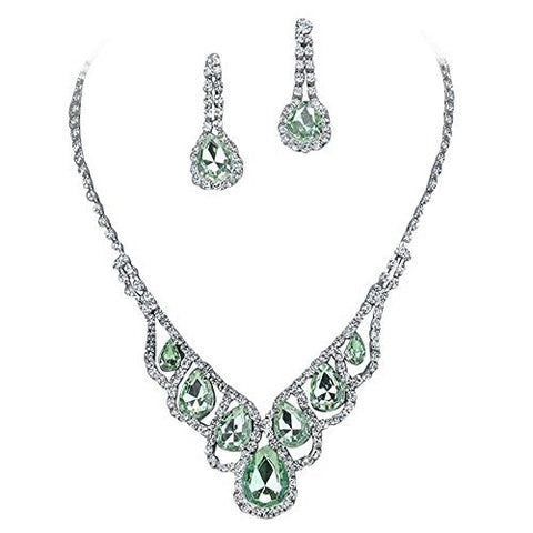 Light Green Elegant Droplets Rhinestone Prom Bridesmaid Evening Necklace Set Silver Tone T7