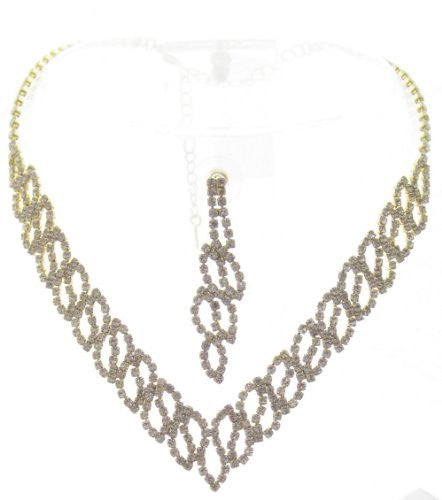 Bling V Clear Crystal Cutout On Gold Tone Bridesmaid Bridal Evening Necklace Earring
