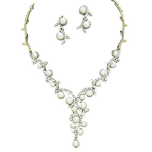 Statement Y Drop Cream Pearl Bridal Necklace Set Prom Earring Set Gold Tone