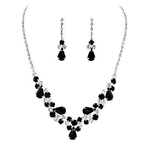 Black Teardrop Accented Rhinestone Necklace Set Bridal Bridesmaid Prom SilverTone