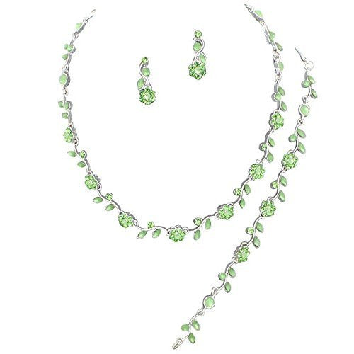 Affordable Lime Green Color Crystal Bridesmaid 3 Bridal Necklace, Earring, Bracelet Set I3