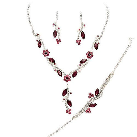 Y Drop Pretty Purple Lavender & Eggplant Floral Crystal Prom Bridesmaid Wedding Necklace Jewelry Set DO1