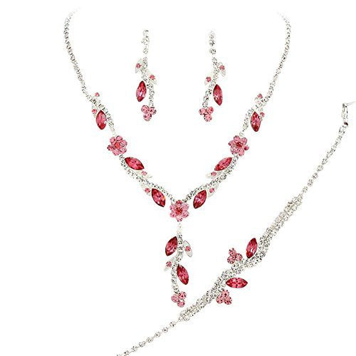 Y Drop Pretty Lite Pink Floral Crystal Prom Bridesmaid Wedding Necklace Jewelry Set DO6