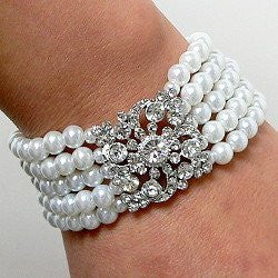 White Wedding Bridal Bracelet SilverTone 5 Rows Of White Faux Pearl and Vintage