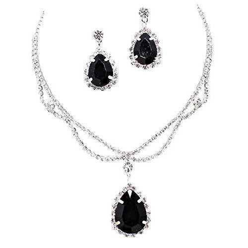 Black Statement Teardrop Bridal Bridesmaid Necklace Earring Set Silver Tone D4