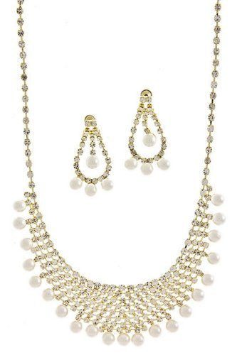 Statement Cream Faux Pearl Bridal Necklace Set W Crystal