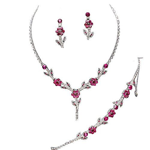 Elegant Fuchsia Pink 3 Piece Crystal Y Drop Bridesmaid Bridal Necklace Earring Bracelet Set Weddin N4