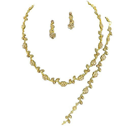 Affordable Bronze Color Crystal Bridesmaid 3 Bridal Necklace, Earring, Bracelet Set J3