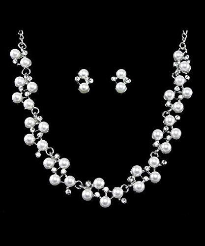 Bridal White Pearl Austrian crystal Necklace Earring Set Silver Tone W Bling