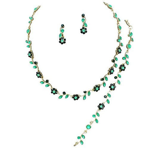 Affordable Emerald Green BRIDESMAID 3 Bridal Necklace, Earring, Bracelet Set H2