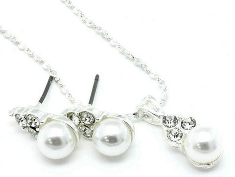 Dainty Vintage Inspired Bridal Bridesmaid White Pearl Necklace Earring Set bling