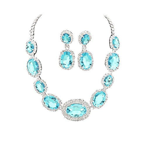 Large Statement Aqua Sky Blue Oval Stone Bridal Bridesmaid Necklace Earring Set Silver Tone DN02