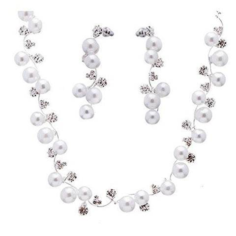 White Pearl Crystal Bridal Vining Necklace, Bracelet Earring W Rhinestone Accent CK6