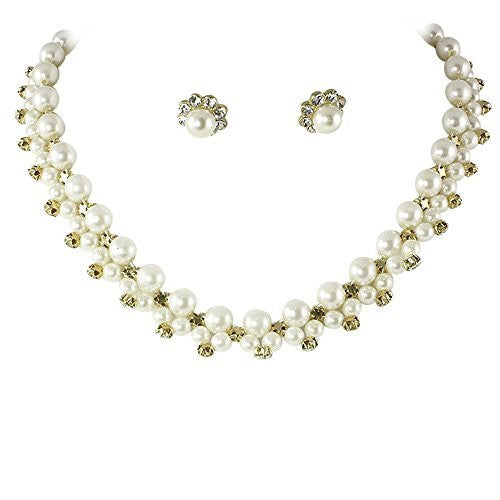 Classic Bridal Cream Pearl Necklace Earring Set Gold Tone W Bling CD3