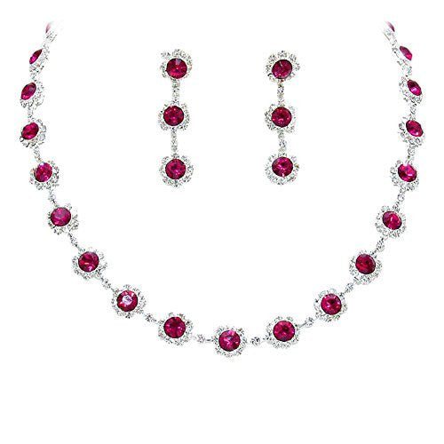 Fuchsia Wine Floral Crystal Rhinestone Collar Necklace Necklace Set Bridal Bridesmaid Prom