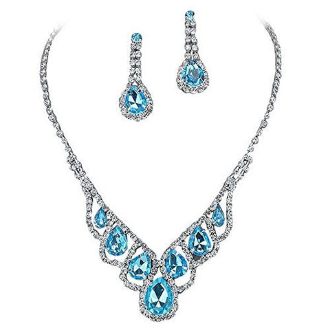 Aqua Blue Elegant Droplets Rhinestone Prom Bridesmaid Evening Necklace Set Silver Tone T5