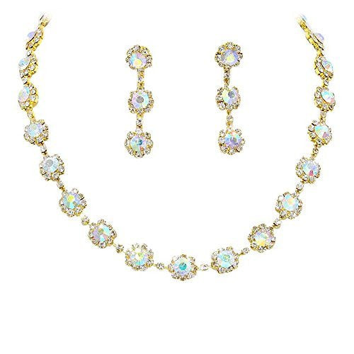 Iridescent AB Floral Crystal Rhinestone Collar Necklace Necklace Set Bridal Bridesmaid Prom Gold Tone