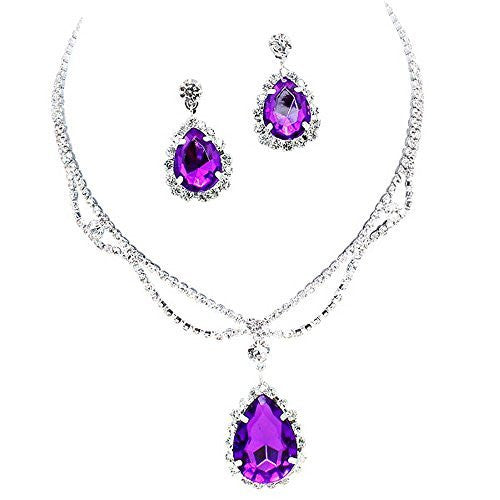 Purple Statement Teardrop Bridal Bridesmaid Necklace Earring Set Silver Tone C6