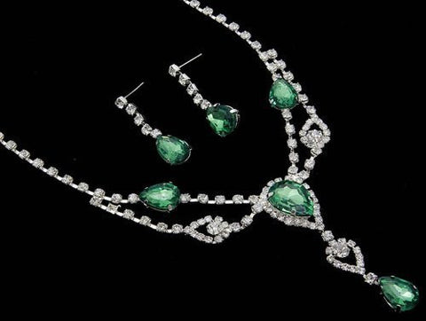 Stunning Y Drop Evening Green Crystal Bridal Necklace Bridesmaids Party