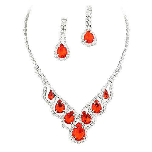 Ruby Red Elegant Droplets Rhinestone Prom Bridesmaid Evening Necklace Set Silver Tone U6